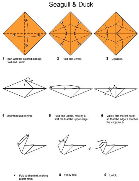 Origami Resource - origami seagull and duck by hans birkeland