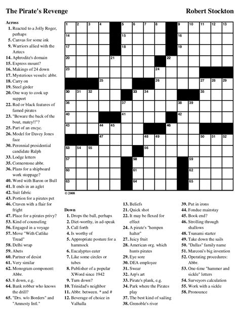 sea dogs crossword beekeeper crosswords 187 archive 187 puzzle 63 the pirate s
