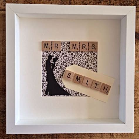 Wedding Box Frame by Handmade Wedding Anniversary Scrabble Picture Shadow Box