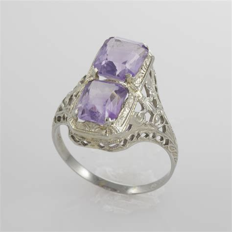 deco amethyst ring 18k white gold deco amethyst ring size 8