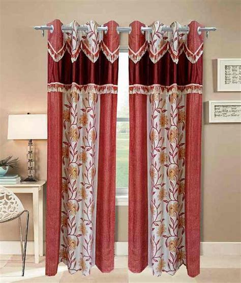 door curtains online india homefab india set of 2 door eyelet curtains printed red