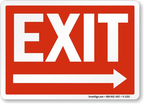 Exit Sign directional exit signs with arrows free pdf