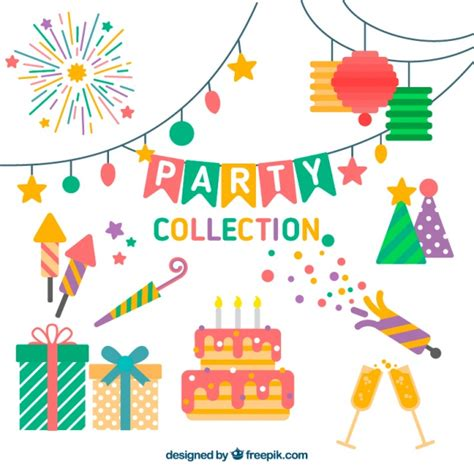flat decoration birthday decoration set in flat design vector free