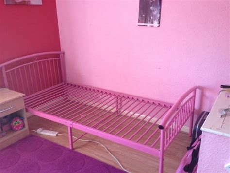 Single Pink Metal Bed Frame With Mattress Dudley Pink Metal Bed Frame