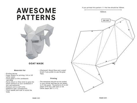 printable ram mask diy goat mask pan mask mythology animal head by