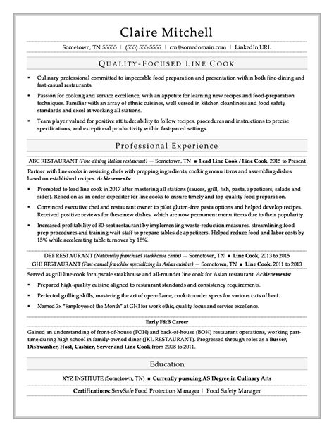 Resume Sles For Line Cook line cook resume sle