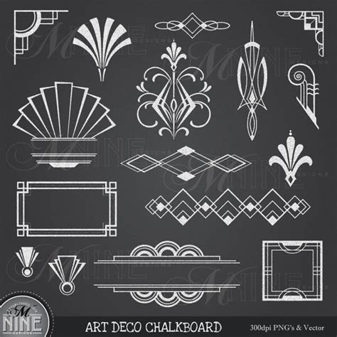 printable art deco designs chalk art deco clipart chalkboard art deco clip art design