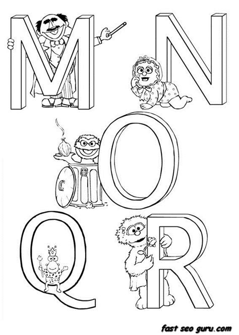 printable alphabet letters sesame street free coloring pages of sesame street alphabet