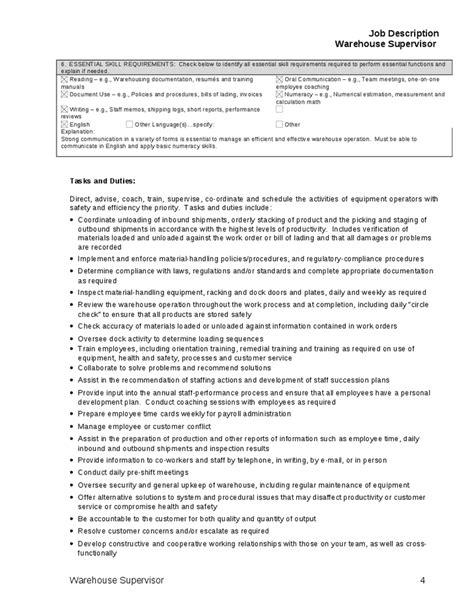 supervisor description template warehouse picker description for resume resume ideas