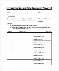 assignment sheet template sle assignment sheet template 9 free documents