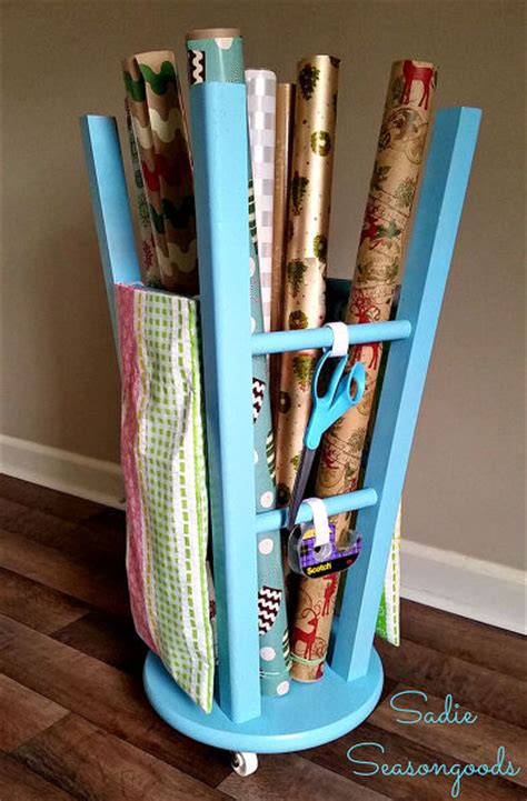 best upcycling ideas hometalk upcycled kitchen stool gift wrap caddy