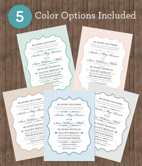 A7 Scallop Cards Templates by Printable Wedding Stationery Collection
