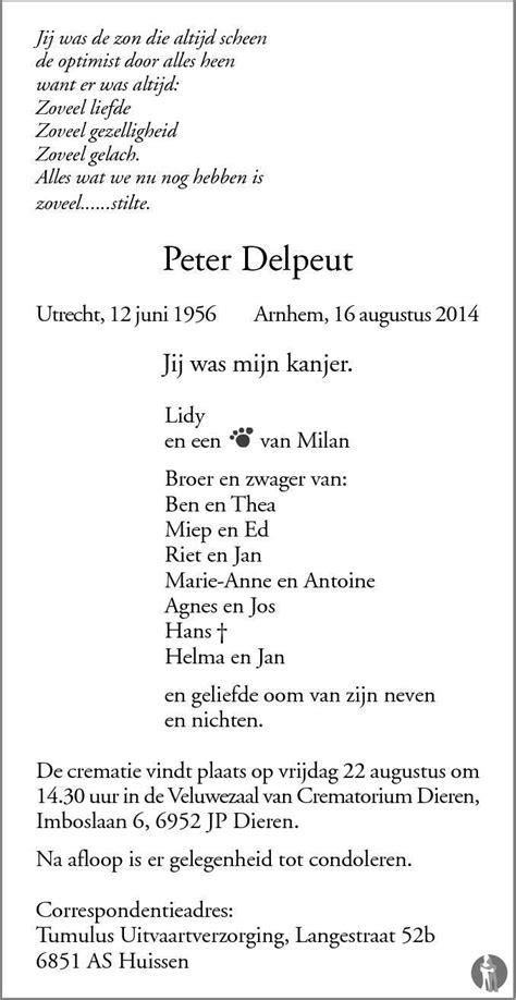 Peter Delpeut 16-08-2014 overlijdensbericht en