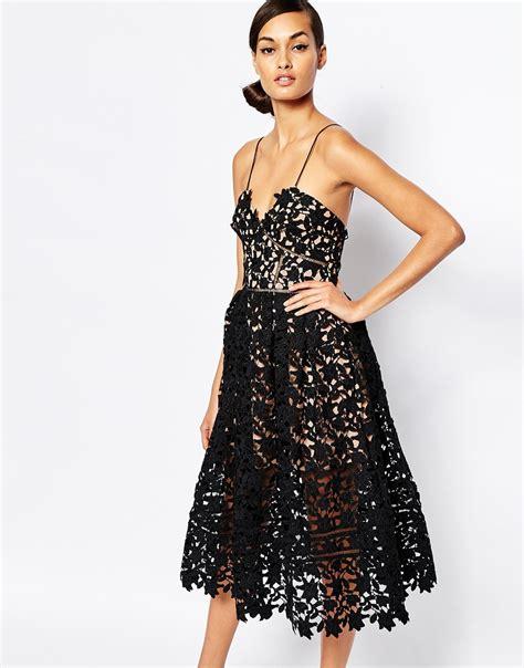 Vilia Lace Flare Dress self portrait azaelea midi dress in textured lace the