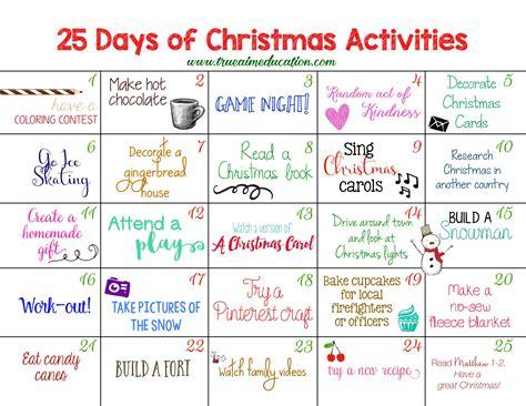Calendar Day To Day 25 Days Of Activities Advent Calendar True Aim