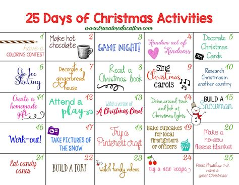 25 days of christmas activities advent calendar true aim