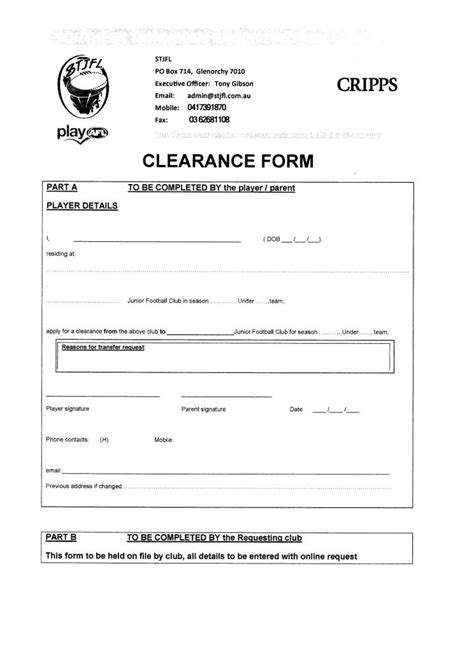 Official Transfer Request Letter Football Transfer Request Forms Glenorchy District Junior