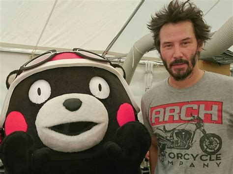 Popular Japanese Mascot Kumamon Meets Keanu Reeves