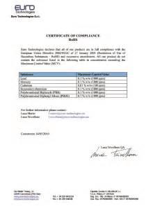 rohs compliance certificate template certificate of compliance template wordscrawl