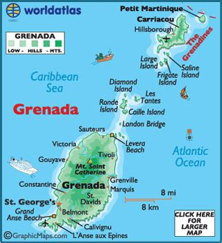 where is grenada located on a world map grenada map geography of grenada map of grenada