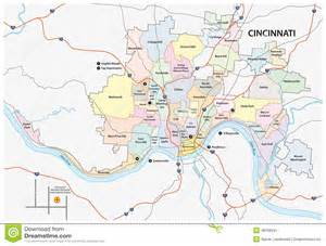 Cincinnati Ohio Map by Cincinnati Road And Neighborhood Map Stock Vector Image