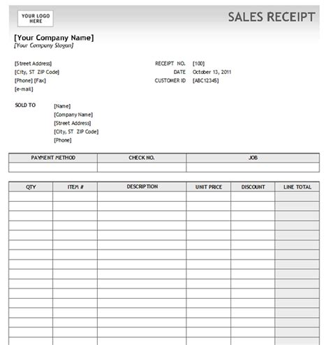 sales receipt template 5