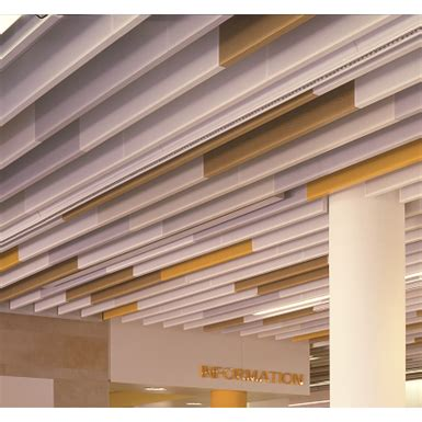 linear metal baffle ceiling lindner free bim