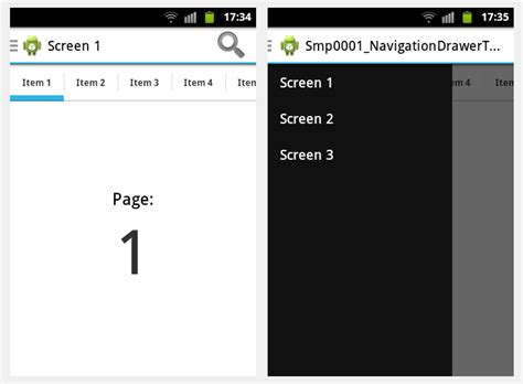 android studio swipe layout android in navigatin drawer with swipe tabs how to make