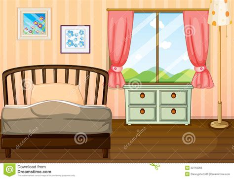 Tidy Bookcase An Empty Bedroom Stock Vector Image Of Illustration