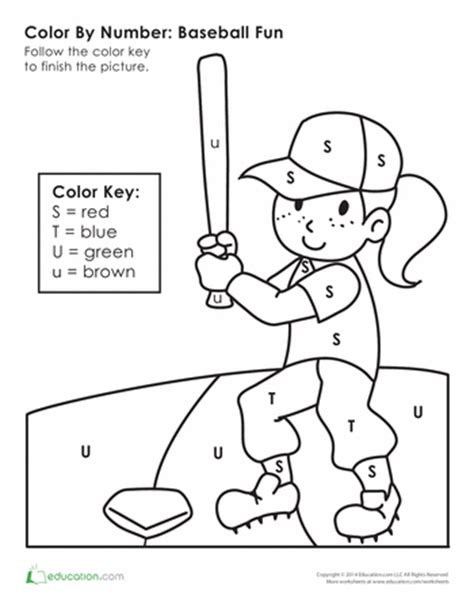 sports coloring pages for kindergarten color by letter playing baseball education com summer