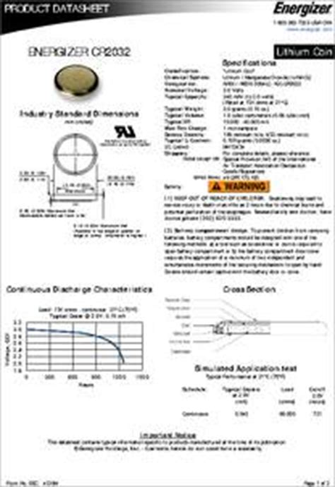 cr datasheet specifications battery cell size coin