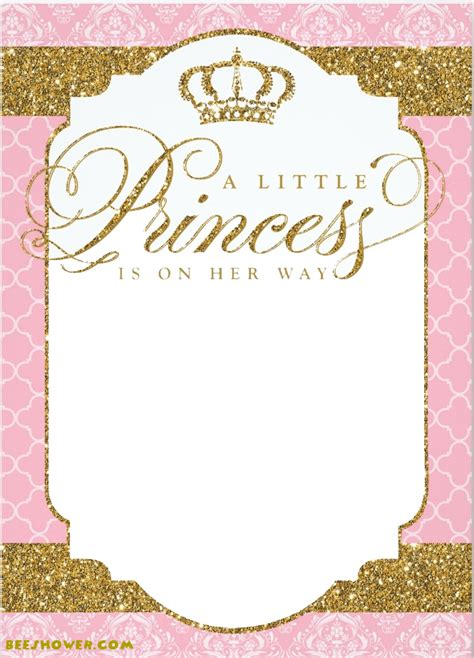 Princess Themed Baby Shower Ideas   FREE Printable Baby Shower Invitations Templates