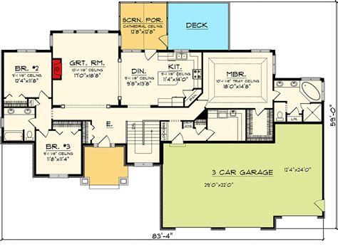 floor plan car craftsman ranch with 3 car garage 89868ah