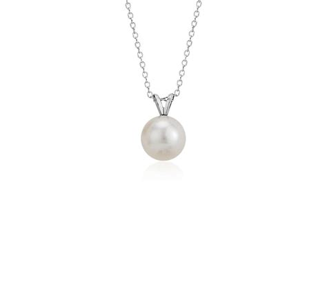 freshwater cultured pearl pendant in 14k white gold 8 0 8