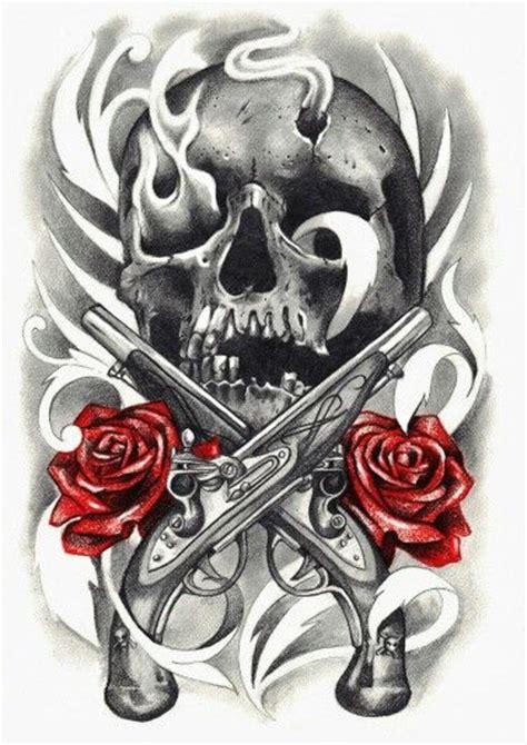 tattoo gun skull skull rose and gun tattoo tats pinterest gun tattoos