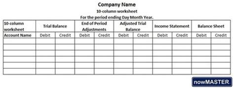What Is A 10 Column Worksheet In Accounting 10 Column Worksheet Excel Template
