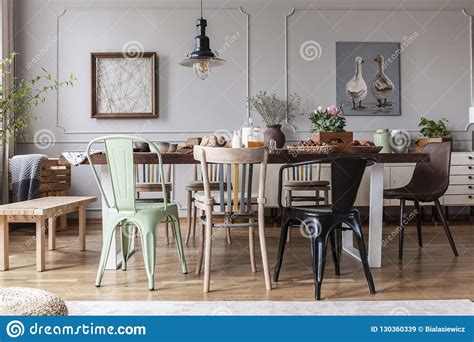 real photo   eclectic dining room interior