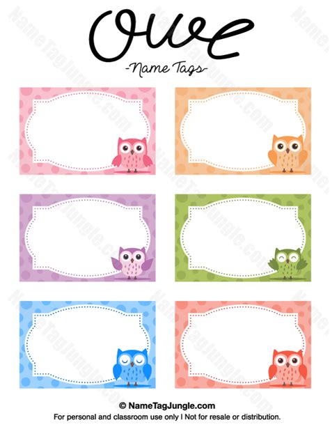 design free name tags free printable owl name tags the template can also be