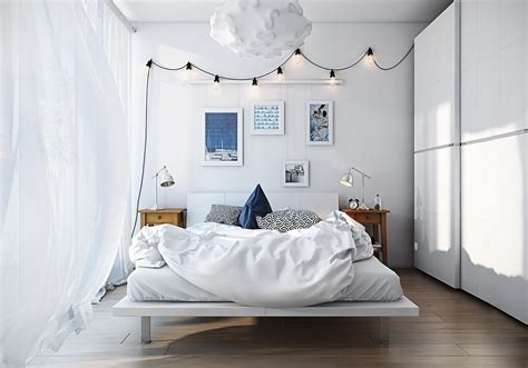 scandinavian bedroom design  woman   white color