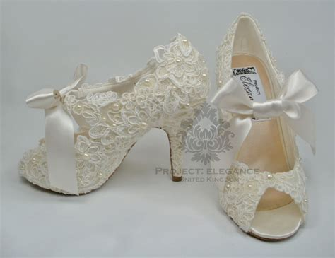 Brautschuhe Vintage Spitze by Womens New Ivory Vintage Lace Pearl Peep Toe High Heel
