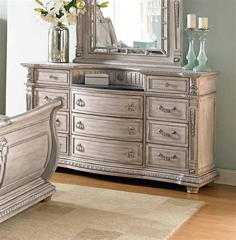 homelegance palace bedroom collection special 1394 bed set palace ii dresser weathered white rub through