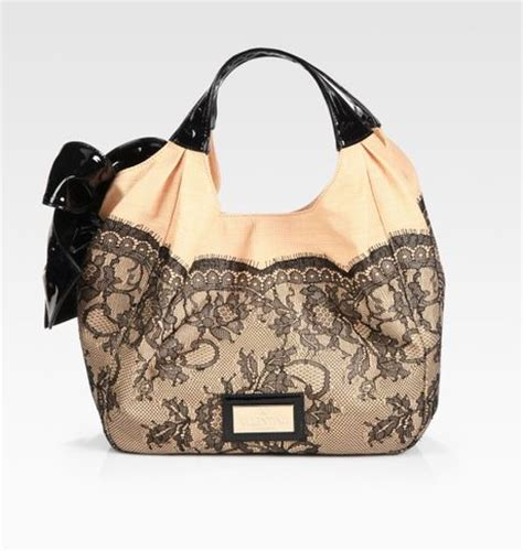 Valentino Patent Leather Lace Satchel by Valentino Lace Trimmed Staw Patent Leather Hobo Bag In