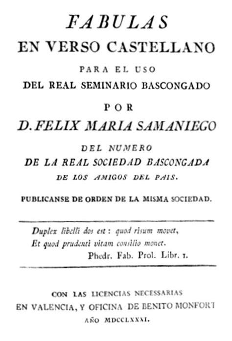 busco una fabula corta f 225 bulas en verso castellano para uso del real seminario
