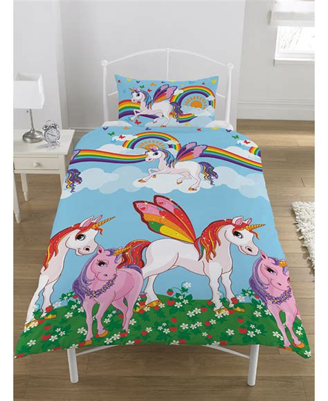 unicorn bedding for kids rainbow unicorns single duvet cover and pillowcase set