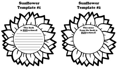 sun flower template sunflower book report projects templates worksheets