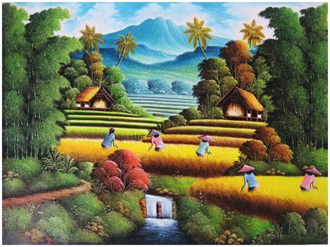 Jaring Burung Padi Di Sawah Warna Hitam Murah jual lukisan murah lukisan panen padi indonesia
