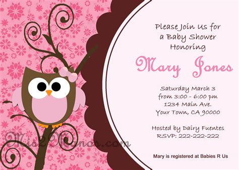 baby shower owl invitations printable pink owl custom