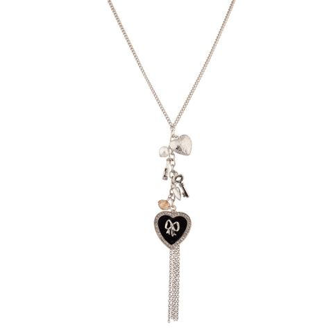 lovely heart key with bow pave bow fringe key faux pearl charm necklace