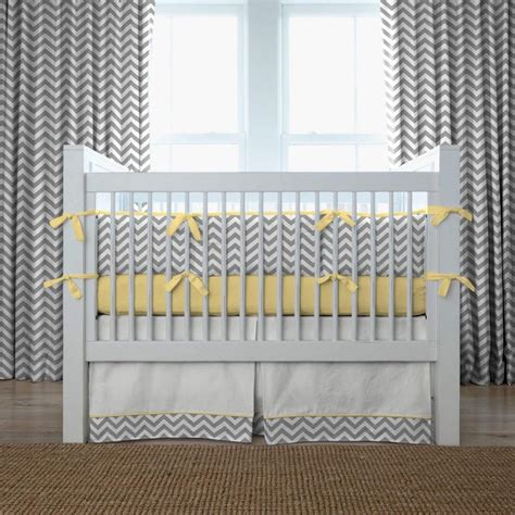 gray and yellow zig zag crib bedding collection by