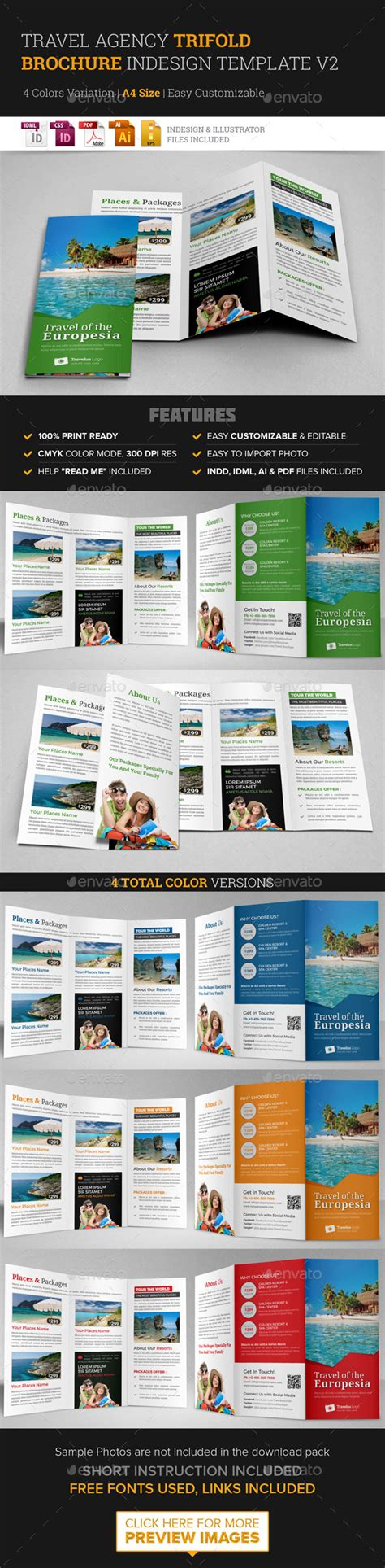 trifold brochure indesign template travel trifold brochure indesign template v2 by